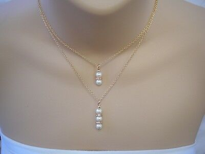 Layered Pearl & Diamante Drop Necklace Multi Chain Choker Double Layer Two 3UAD2