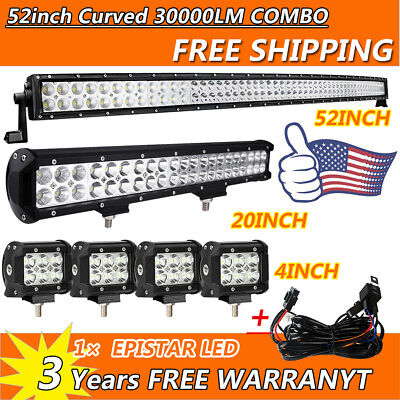 """52Inch Curved LED Light Bar + 20in + 4"""" CREE Pods Offroad SUV ATV Ford Jeep 50"""""""