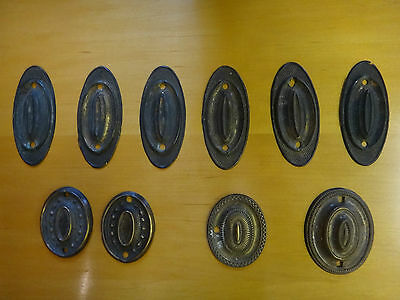 Collection of 10 Original Period Pressed Brass Antique Oval Handle Back Plates