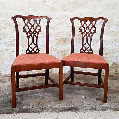 Early Victorian Chippendale Style Mahogany Pair Dining Chairs C1840 (Antique)