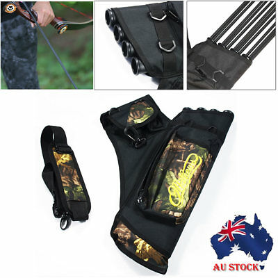 Archery Arrow Holders 4 Tube Bag Back Side Waist Quiver Camo Hunting Sport Black