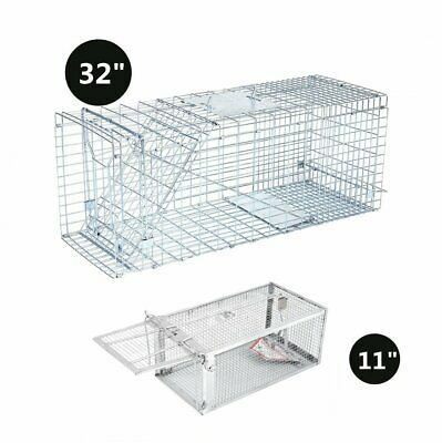 """LOT Humane Small Live Animal Control Steel Trap Cage 31"""" 11"""" Raccoon Skunk Cat M"""