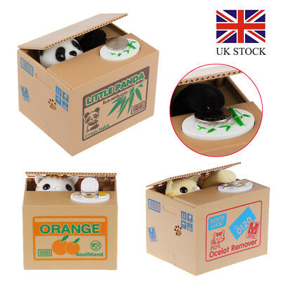 Creative Piggy Bank Panda Cat Steal Money Coin Saving Box Kid Gift Free Delivery