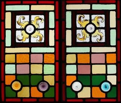Antique Victorian Painted Pair English Stained Glass Windows With Rondels