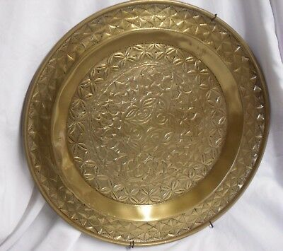Antique VINTAGE Floral HAMMERED BRASS Ornamental WALL PLAQUE Plate SHIELD 19""