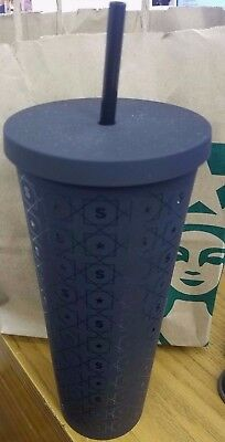 NEW 24 oz Starbucks Reserve matte black cold cup w/black straw soft feel