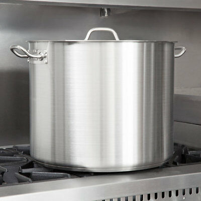 60 Qt. Heavy-Duty Stainless Steel Restaurant Kitchen Stock Pot with Lid Cover