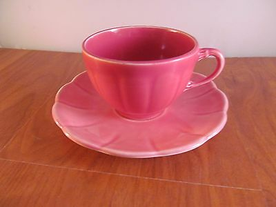 W.S. George Pottery Company Cup and Saucer 1778 coffee Tea Pink Flower Vintage