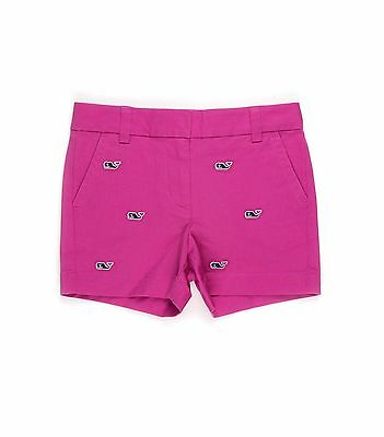 NEW Girls Vineyard Vines Shorts Whale Embroidered Boulevard Solid Raspberry Pink
