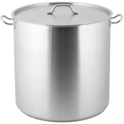 100 Qt. Heavy-Duty Stainless Steel Restaurant Kitchen Stock Pot with Lid Cover