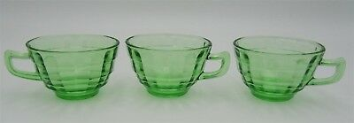 3 Block Optic Cups Pointed Handles by Anchor Hocking Green Depression