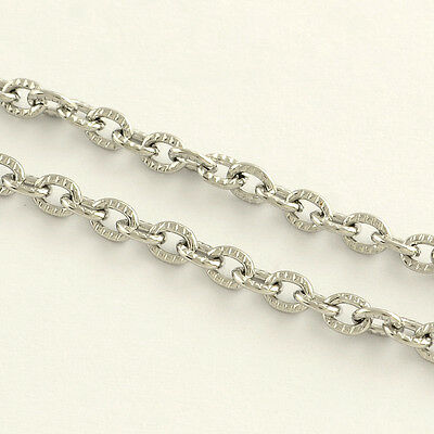1 metre of 304 Stainless Steel Cross Chain, 4x3mm, 0.8mm thick
