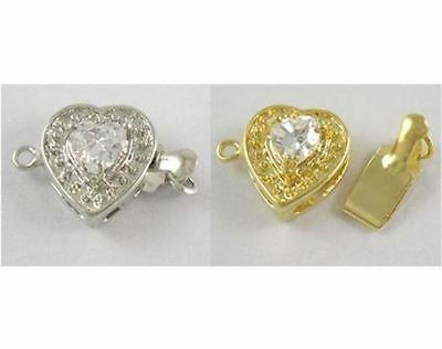 2 x Heart Box Clasp with Stone