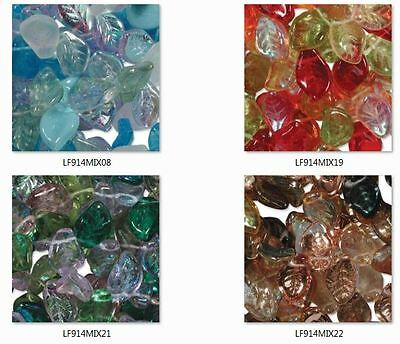 """1 x 8"""" Strand of Czech Glass Leaves 12mmx7mm Mix packs, top drilled (50 beads)"""