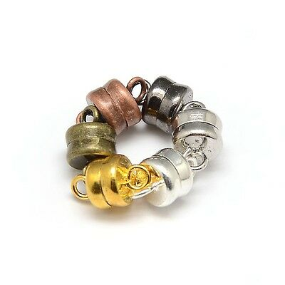 4 x Small Column Magnetic Clasp 10mm x 6mm with loops