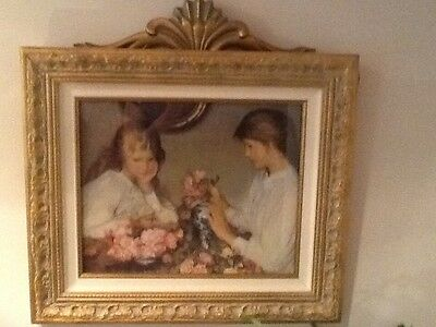 Beautiful Victorian/Shabby Chic Picture with Gold and Canvas Frame