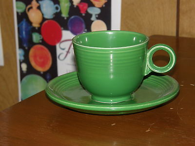 Homer  Laughlin  Fiesta  Old  Medium  Green  Cup  And  Saucer   ==  8  Avail.