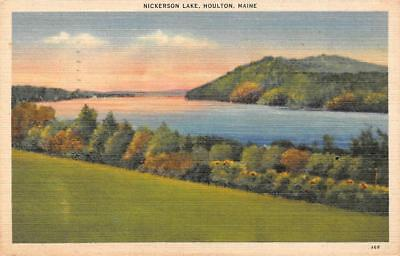 HOULTON, ME Maine   NICKERSON LAKE   Aroostook County  1946 Linen Postcard
