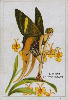 Antique Vintage Trade Card Flapper Butterfly Moth Girls Fabric Quilt Block 9039