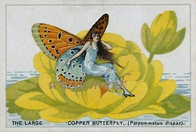 Antique Vintage Trade Card Flapper Butterfly Moth Girls Fabric Quilt Block 9012