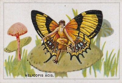 Antique Vintage Trade Card Flapper Butterfly Moth Girls Fabric Quilt Block 9016