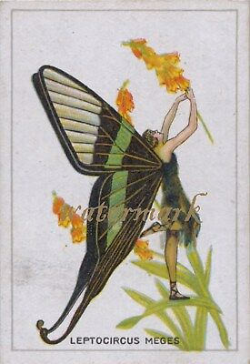 Antique Vintage Trade Card Flapper Butterfly Moth Girls Fabric Quilt Block 9018
