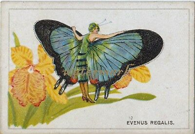 Antique Vintage Trade Card Flapper Butterfly Moth Girls Fabric Quilt Block 9025