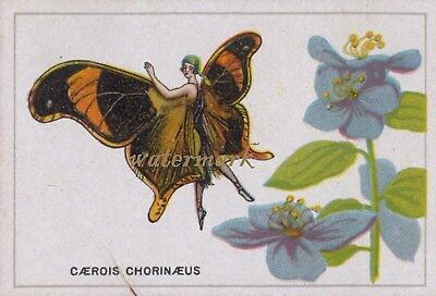 Antique Vintage Trade Card Flapper Butterfly Moth Girls Fabric Quilt Block 9037