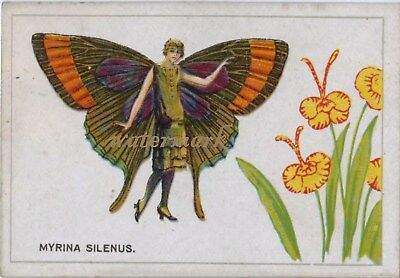 Antique Vintage Trade Card Flapper Butterfly Moth Girls Fabric Quilt Block 9042