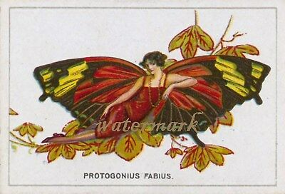 Antique Vintage Trade Card Flapper Butterfly Moth Girls Fabric Quilt Block 9038