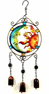 Colorful Moon and Sun Outdoor Wind Chimes Stained Glass Garden Decor with Bells