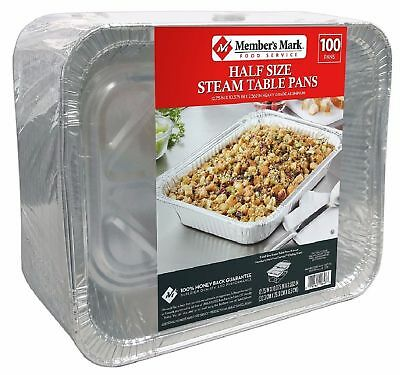 Member's Mark Aluminum Steam Table Pans Half Size 100 ct Clean up Fast and Easy