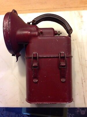 National Marine Excellight Railroad/ Miners Lantern Flashlight 1921 Great Paint