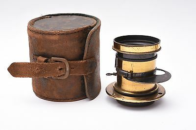 Vintage brass lens A. Gorde. f/8. Good cosmetic and working condition. With case