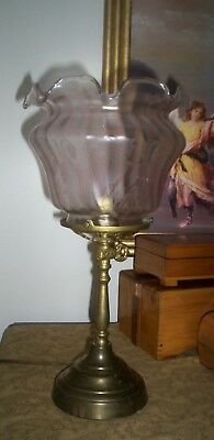 Antique Victorian style glass etched oil lamp / light shade globe fluted edge