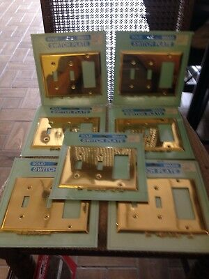 Lot Of 7 New Solid Bright Brass 3 Gang Combination Switch Plates - New Old Stock