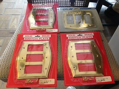 Lot Of 4 New Solid Bright Brass 3 Gang Switch Plates - New Old Stock