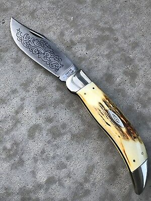 ~ Vintage 1977 Case Xx Clasp Knife Blue Scroll Fat Stag 5172 Ssp 3 Dot @@~
