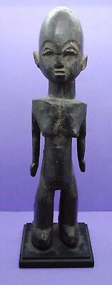 19th century wooden carved African tribal figurine - with stand
