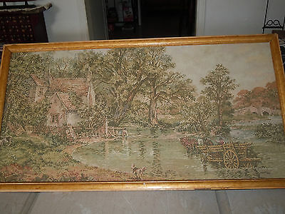 antique tapestry western scene 40x21,huge piece of art