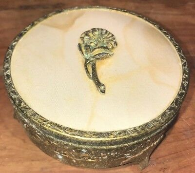 Vintage Brass And Cut Glass Powder Box, Flower, Intricate Floral Detailing