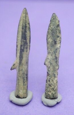 Group of 2 Ancient Greek bronze bi-lobate socketed arrow heads 1st millennium BC