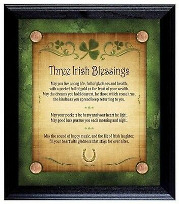 Irish Blessing Wall Celtic Plaque Lucky Coin Bar Decoration Home Wood Framed Art