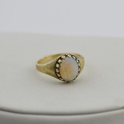 10k Yellow Gold Vintage Fire Opal Ring Size 6