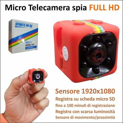 Telecamera Spy Cam Sq11 Full Hd Mini Dv Cubo Camera Spia Nascosta Infrarossi