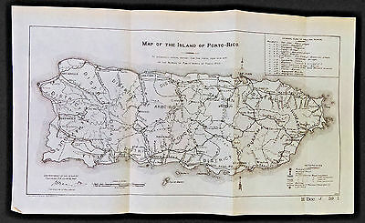 Original 1905 Map of Island of Puerto Porto Rico Bureau of Public Works