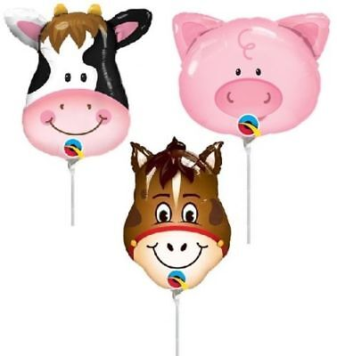 Farm Animal Balloons 6pcs Mini Shapes Centerpieces Birthday Party Cow Pig Horse