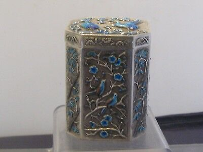 Chinese Export Silver Box Enamel Tea Caddy  Boite A The Chine Argent Massif
