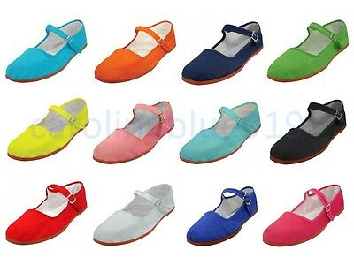 New Womens Cotton Mary Jane Shoes Ballet Ballerina Flats Shoes 12 Colors