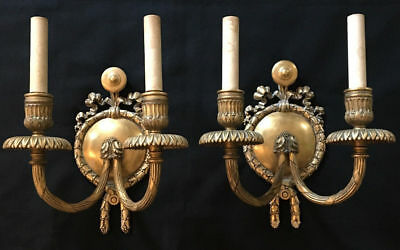 Beautiful Pair of E. F. Caldwell Bronze Sconces. Heavy and Impressive.